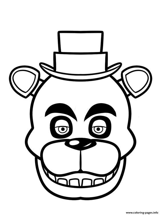 Print fnaf freddy five nights at freddys face coloring