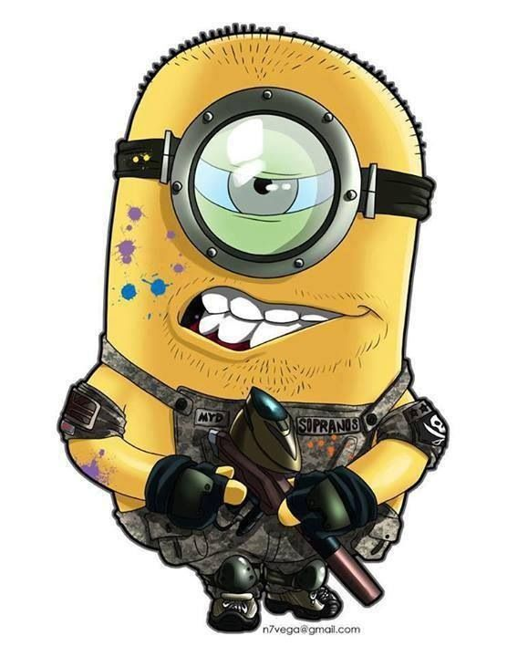 Hahaha!!! I love the Minions, they're f*ckin hilarious and I could imagine them playing painball would be epic!!