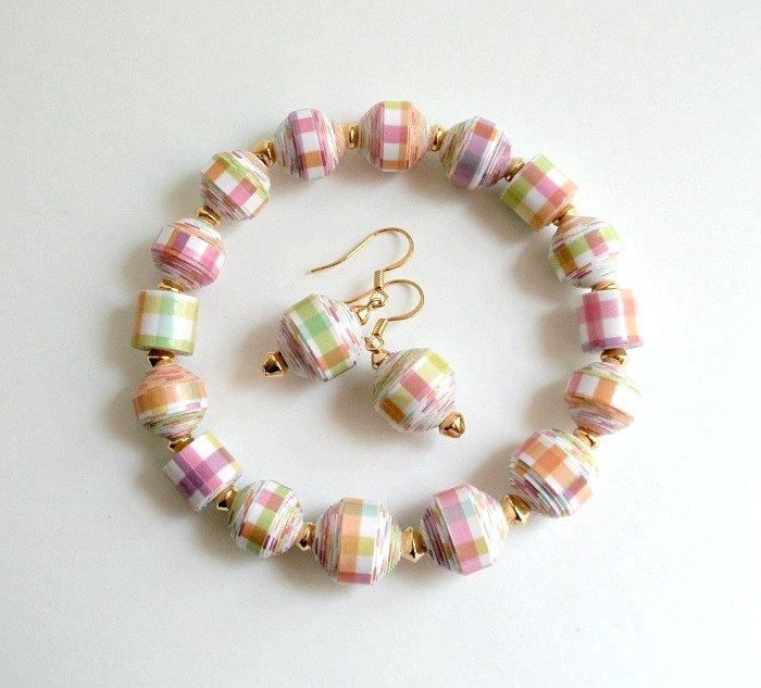 Spring Plaid, PAPER BEAD Bracelet and Dangle Earrings Set - custom sizing, shipping included. $26.00, via Etsy.