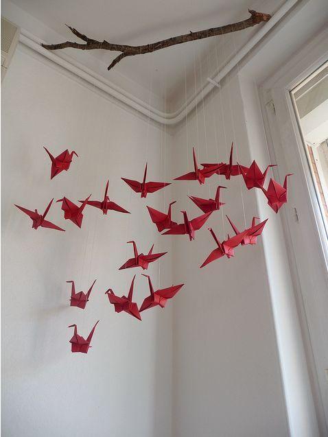 movil de grullas de origami
