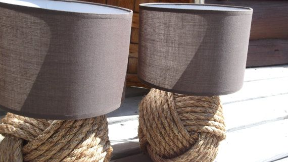 Nautical Decor - Two knotty lamps - with or without white shades only - brown shades not available at present, sorry on Etsy, $72.51