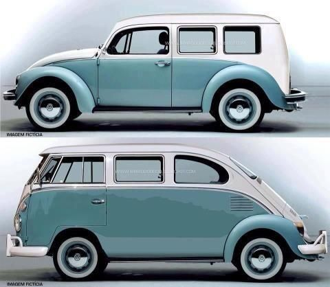 VW Bus and Beetle Mashup - The Beetle I have seen like that is reality - VW Bus mashup looks a lot like a Fiat 600 Multipla