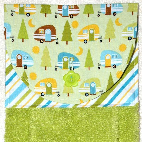 Decorate your home or RV with functional style with this handmade hanging hand plush towel. Teardrop trailers and trees on green with a bold striped accent fabric is sure to be a favorite in your kitchen or bath.  Hanging Hand Towel • Green Tea Towel • Camping Decor • Glamping • Teardrop Trailer • Airstream • Pod Camper • Camping • FREE SHIPPING