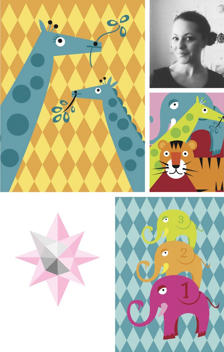 Meet My Little Treasure! She illustrates beautiful posters for both kids and adults. #nordicdesigncollective #mylittletreasure #poster #print #kidsroom #childrensroom #giraffe #circus #animal #pattern #colorful #geometrical #geometricalshapes #tiger #elephant #orange #blue #red #green #dot #dots #star