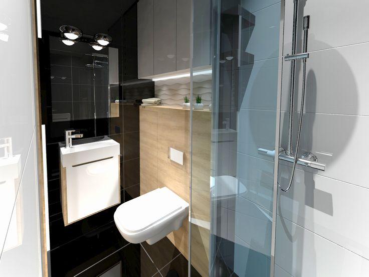 Elegant Maleńka łazienka Przy Biurze, Przeznaczona Dla Jednej Osoby.Projekt Zakłada  Wygospodarowanie Miejsca Na Toaletę