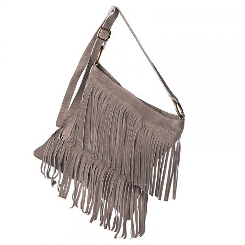 CASPAR Damen Wildleder Tasche / Umhängetasche mit Fransen / Ledertasche / MADE IN ITALY - viele Farben - TL691, Farbe:khaki