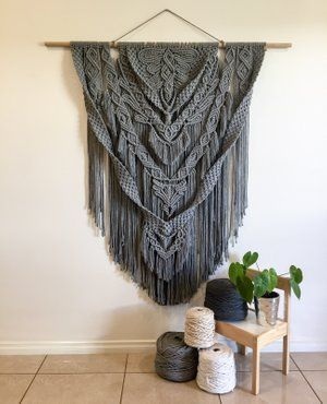 """Grey Mist"" Custom made Macrame Wall Hanging"