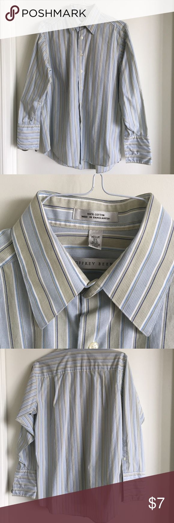 Geoffrey Beene Men's Dress Shirt Medium Beautiful, blue & green striped button up dress shirt. Worn for school play - buttons on cuff removed (hence the great price!). 100% cotton. Machine wash warm. 15 1/2 x 32/33 Geoffrey Beene Shirts Dress Shirts