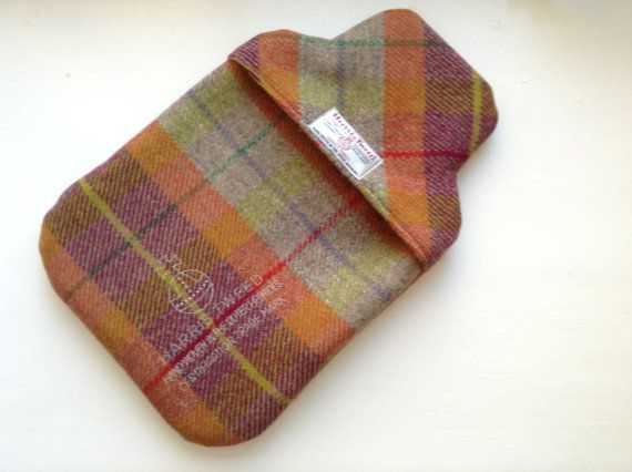Harris Tweed Orange & Red check thermal lined Hot Water Bottle cover