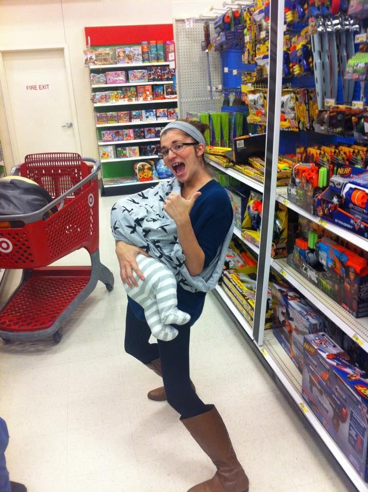 Badass Breastfeeder Kristen Using A Nursing Cover While