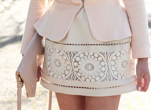 Cream skirt with lace