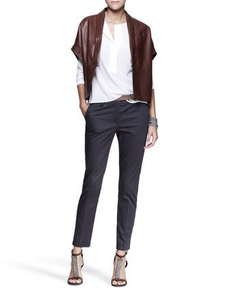 Kimono-Sleeve Jacket, Half-Placket Shirt, Slim Ankle Pants, Leather Belt & Cuff by Brunello Cucinelli at Neiman Marcus.