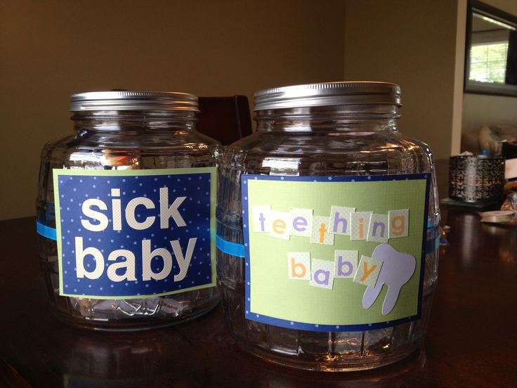 Baby Gift Jars : Baby shower gift jars filled with sick remedies and