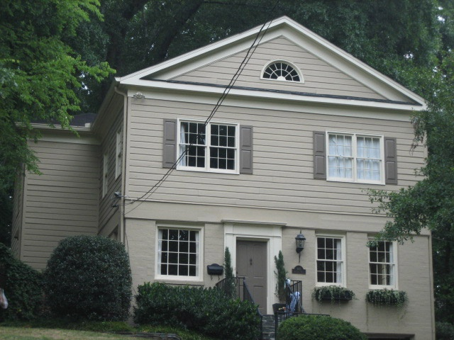 Painted brick and siding house pinterest bricks for Houses with stucco and siding