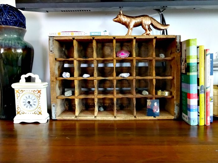 soda crate makes the perfect rock collection display piece