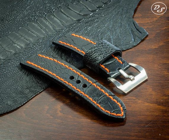 Handmade Black Ostrich leg leather watch strap 20 22 24 26 mm Made in Italy