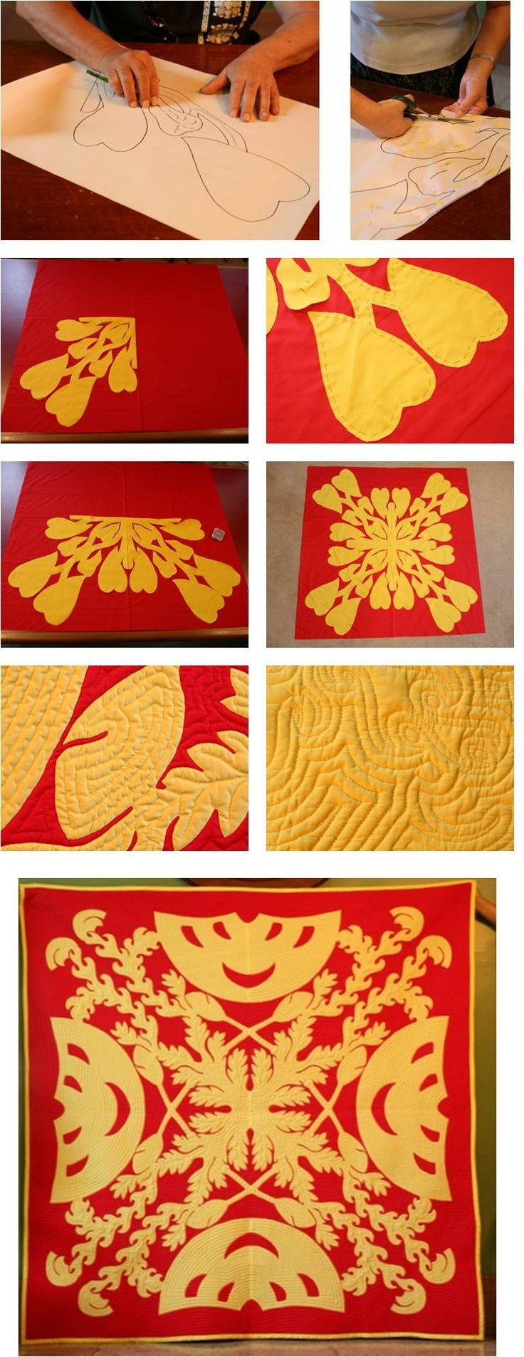 Hawaiian quilting DIY: an excellent downloadable tutorial with instructions by Cissy Serrao. The beautiful quilt pictured here was quilted and appliquéd by Doris Shibuya and designed by John Serrao. Design: The royal Symbols of the first King of Unified Hawaii.