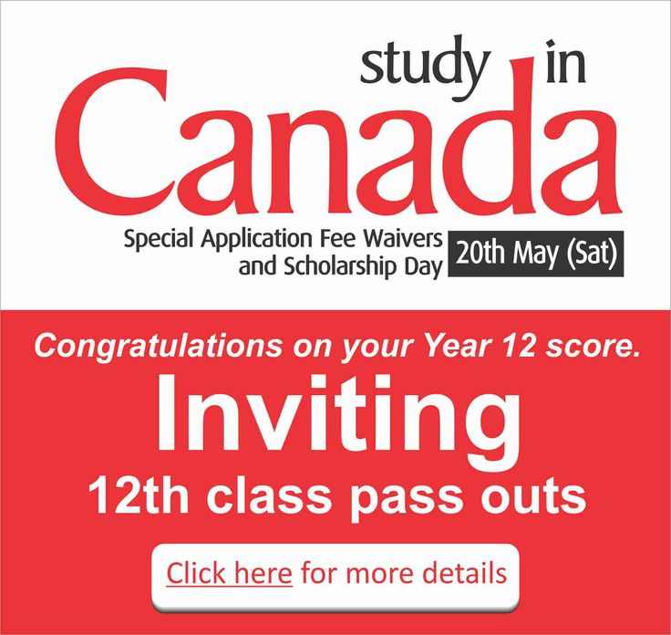 Study In Canada Special Application Fee Waivers And Scholarship Day For Complete Information Enrolment Register Today Scholarships Fee Waiver Study