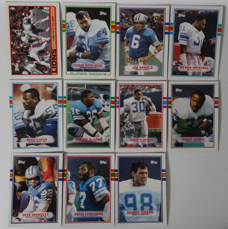 1989 Topps Detroit Lions Team Set of 11 Football Cards #DetroitLions