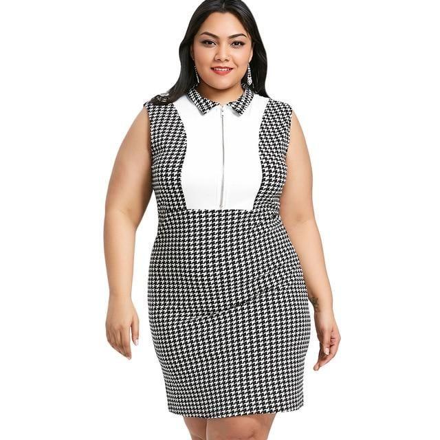 Plus size impressão houndstooth bodycon dress mulheres vestidos de verão escritório trabalho party dress vestidos de algodão robe 5xl multi 5xl   – Products
