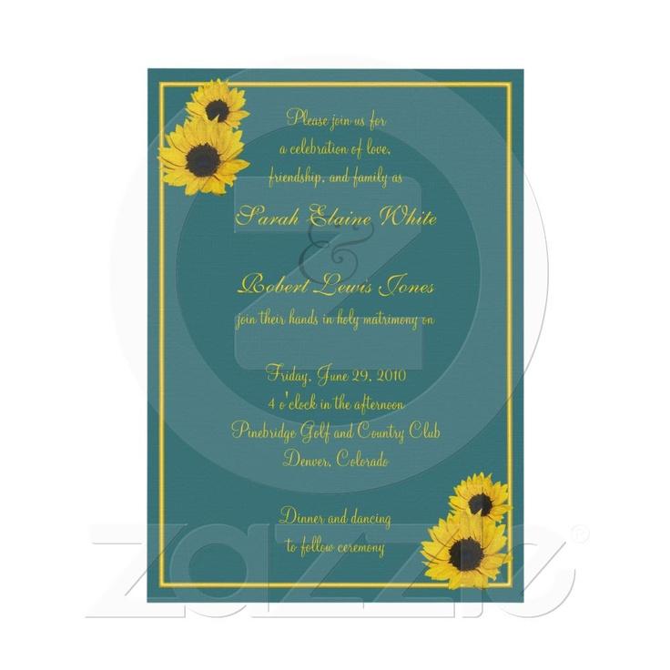 sunflower wedding invitations printable%0A Teal Yellow Sunflower Wedding Invitation from Zazzle com
