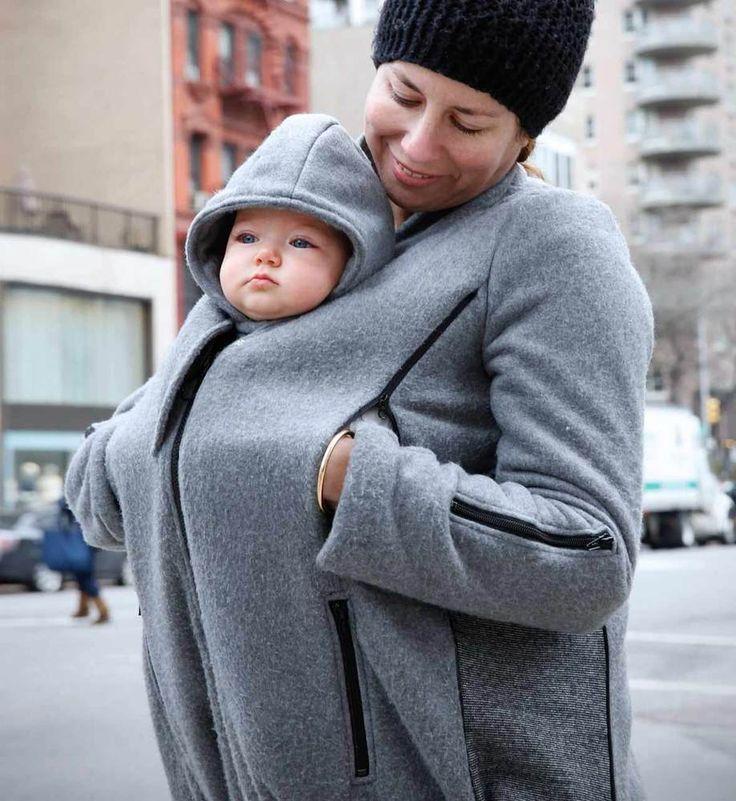 Babytrage = offene Jacke = kalt? B& Me hat eine clevere Lösung entworfen. Der Mantel funktioniert auch mit Babybauch - und solo. ;-)