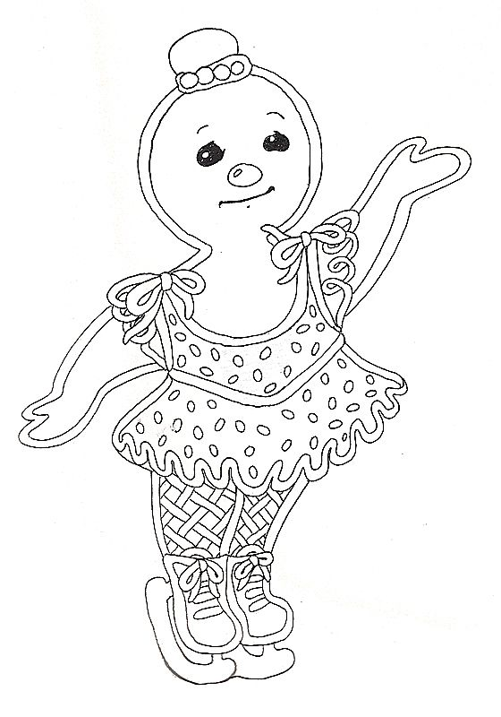 gingerbread girl skater coloring page (With images