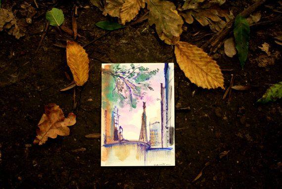 A glimpse of  Sagrada Familia postcard by Cecileart on Etsy