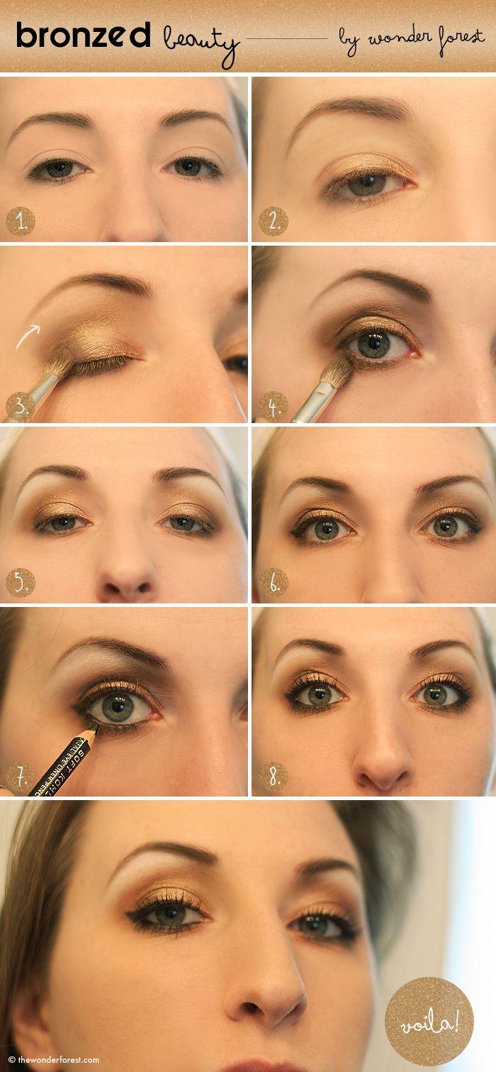 bronzed beauty golden smokey eye tutorial those eyes lips rh pinterest com