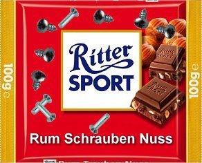 RITTER SPORT Fake Schokolade Rum Schrauben Nuss