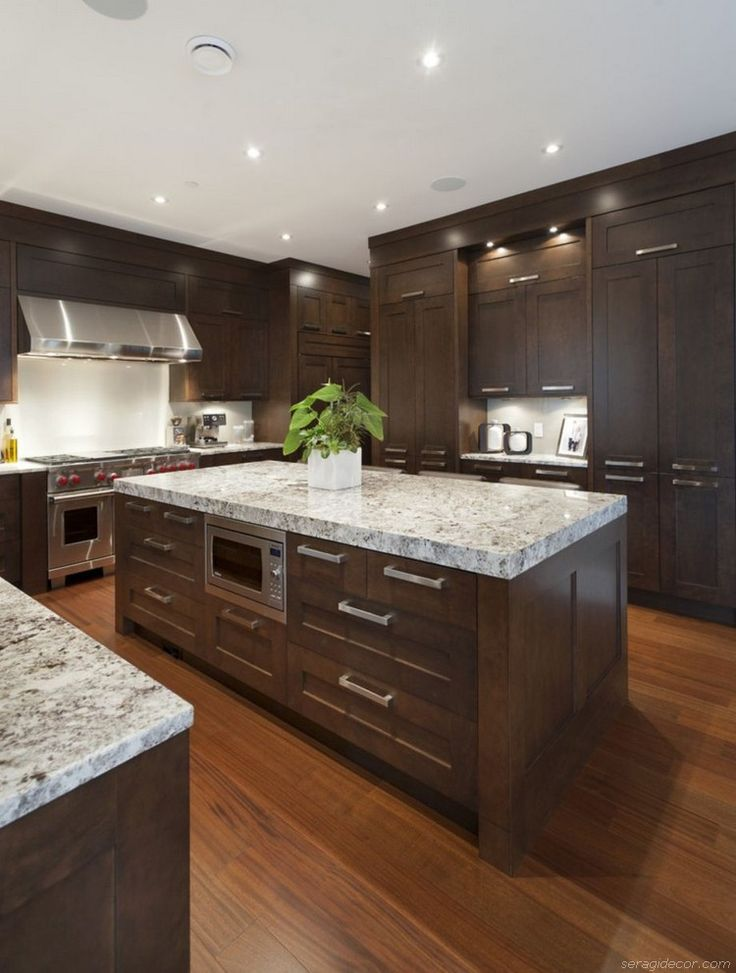 11 Easy Ways To Modernize Brown Cabinets Transitional Kitchen Design Espresso Kitchen Cabinets Kitchen Cabinet Color Schemes