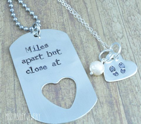 Sterling Silver Dog Tag and Heart Necklace Set, Hand Stamped Personalized, Deployment Jewelry, Military Couple Jewelry, Army Wife