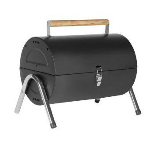 9.80 Portable Barrel Black Steel Table Top BBQ Garden Camping Picnic Charcoal Grill