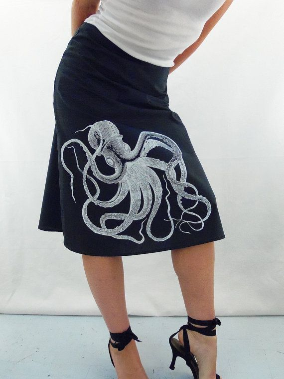 Hey, I found this really awesome Etsy listing at http://www.etsy.com/listing/157944502/octopus-print-skirt-aline-cotton-skirt