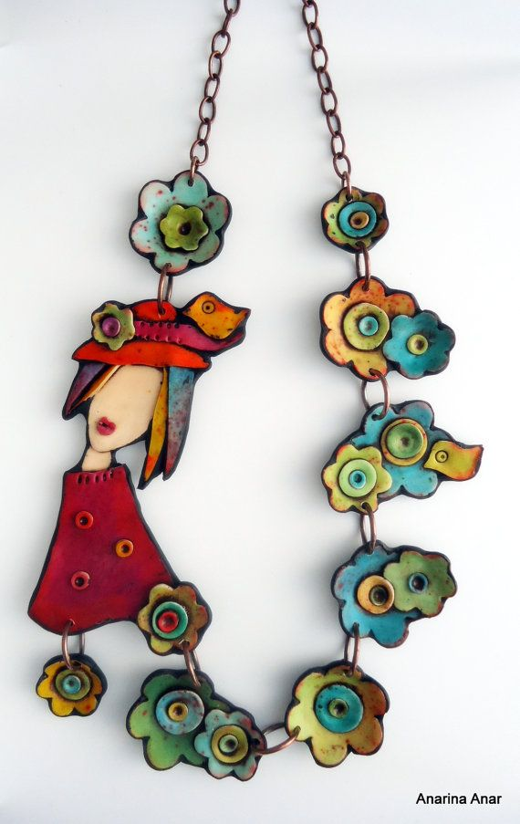 Polymer clay necklace Is there something on my hat by AnarinaAnar, €104.00