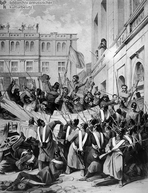 Barricade Fighting in Berlin (March 18-19, 1848) Barricade fighting in front of the Kölln city hall on Breite Straße on March 18-19, 1848. By early March, the revolution seemed to have triumphed in Prussia as well. But after shots were fired accidentally on a peaceful crowd that had gathered in front of Prussian king Frederick William IV's palace to cheer his concessions to revolutionary demands