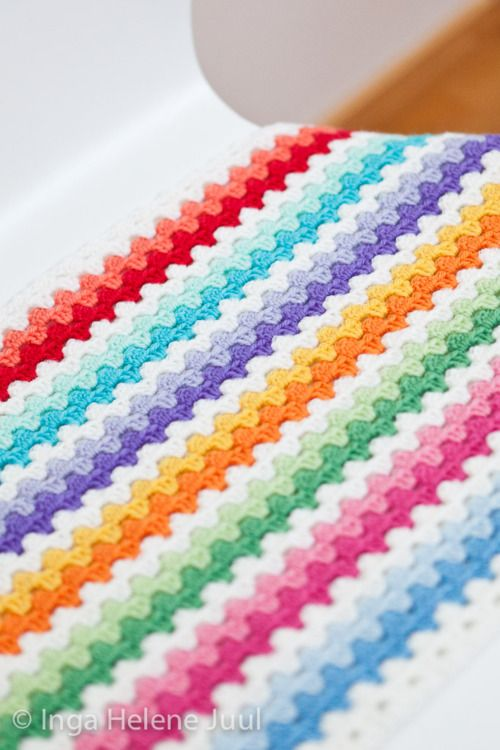 2 rows of colour then 1 white row - crochet granny stripe blanket