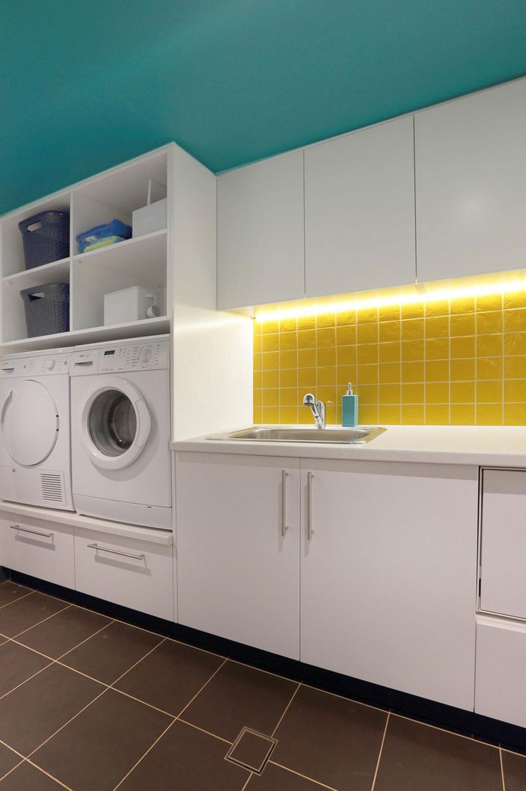 Love the raised washer and dryer for ease of use laundry-inspiration-Inside-Out-Colour-and-Design-Sharon-Newman
