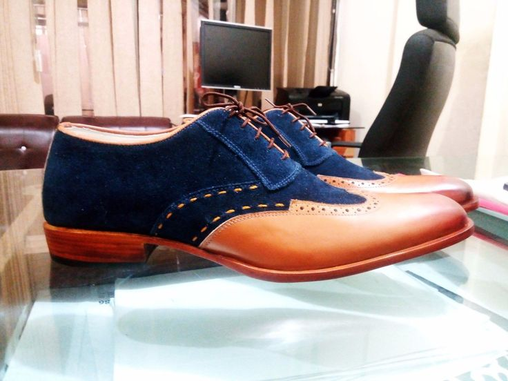 Handmade Men Navy Brown Shoes, Oxford Formal Dress Suede Leather Shoes Wing Tip - Dress/Formal