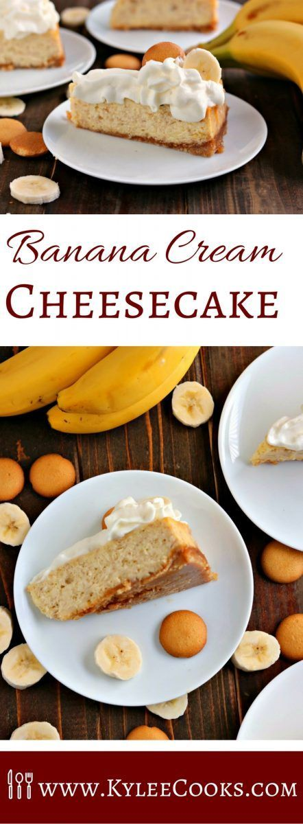 A delicious hybrid of Banana Cream Pie and cheesecake makes this dessert a rich, creamy, pile of cheesecake-y banana deliciousness. It's the perfect finale to any meal! via @kyleecooks