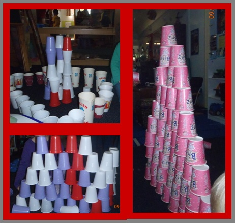 Using paper or plastic cups for a building experience in the block area..