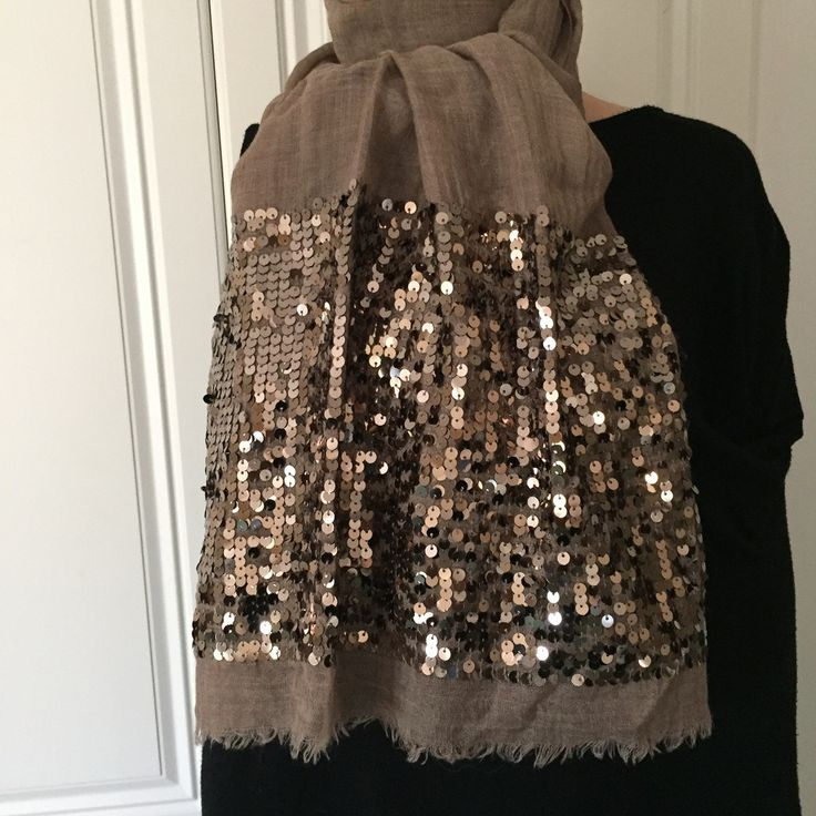 Scarf by Morsta of London in Coffee with Gold Sequins