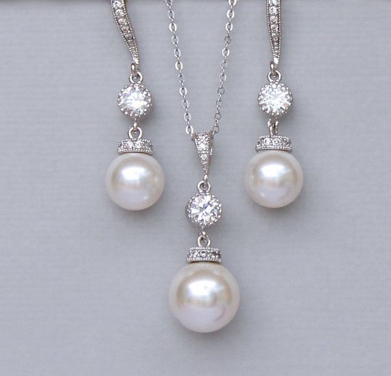 Ivory Pearl Bridal Jewelry Set Pearl Jewelry Set by JamJewels1