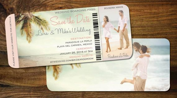 Couple Photo Save the Date Boarding Pass Beach by Idowithyou