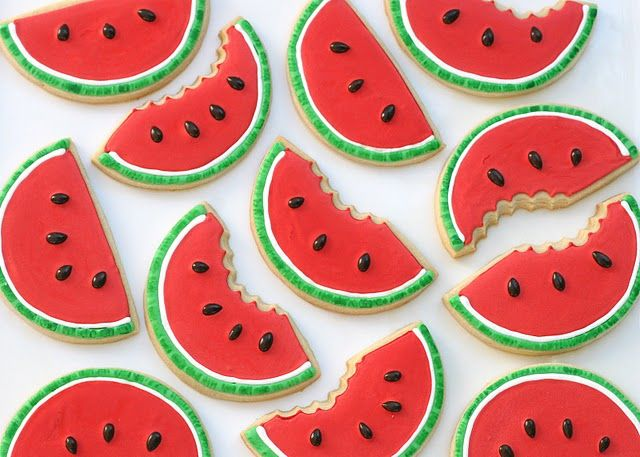 Watermelon cookies. Is there anything more cute?:))