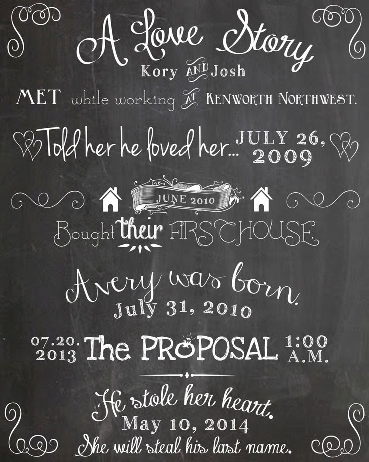 Our Love Story Chalkboard Printable - DIY, weddings, home decor, engagement, party, save the date, anniversary, invitation, program by SweetBeeCreates on Etsy https://www.etsy.com/listing/162437430/our-love-story-chalkboard-printable-diy