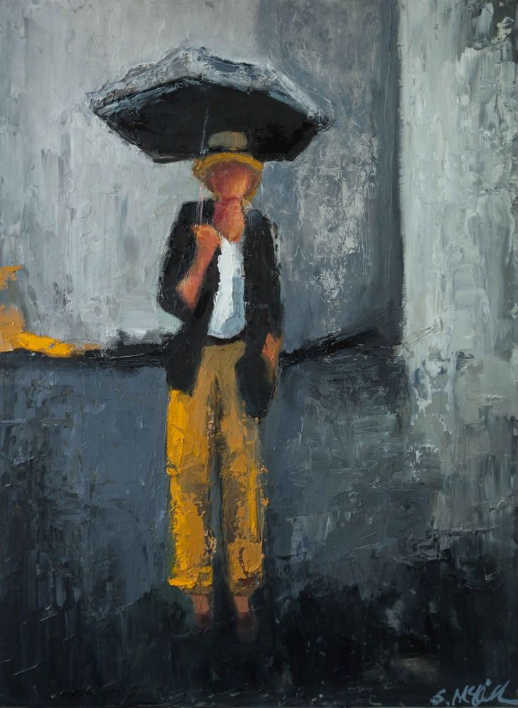 """""""Raining in Soho"""" by Shelby McQuilkin abstract figurative oil painting"""