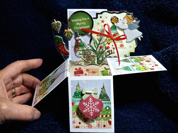 Christmas card in a box hand made original design, one of a kind, pop up Christmas card with envelope highly embellished for someone special by MooseRiverCardShop on Etsy