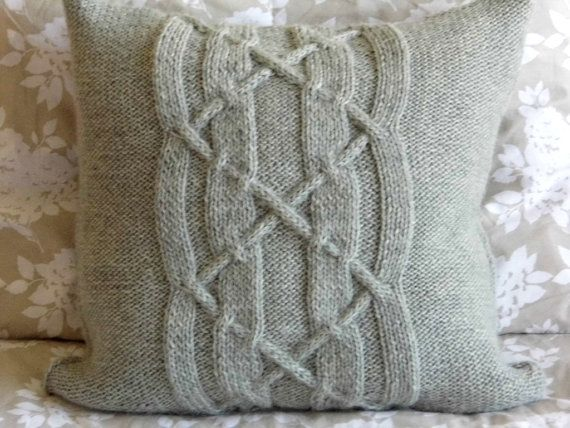 Hand Knit Cable Pillow cushion Light Gray Soft. by ELITAI on Etsy,