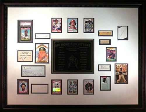 500 Home Run Hitters Signed Framed Display Ruth/Foxx/Mantle/Ott - PSA/DNA Certified - MLB Autographed Baseball Cards